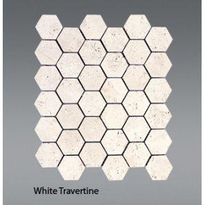 Plaquette de travertin blanc  30,5 x 30,5 x 1 cm