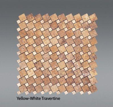 Plaquette de Travertin jaune et blanc  30,5 x 30,5 x 1 cm
