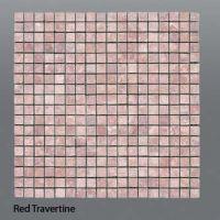 Plaquette de travertin rouge  1,5 x 1,5 cm