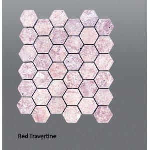 Plaquette de travertin rouge  30,5 x 30,5 x 1 cm